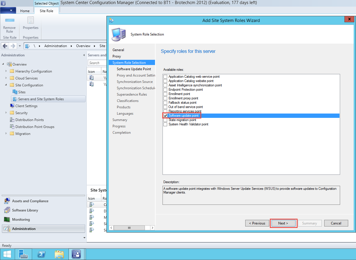 Part 1 – Installing Software Update Point Role – SCCM 2012