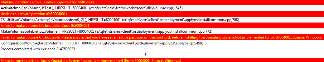 Task Sequence has failed with the error code (0x00000001