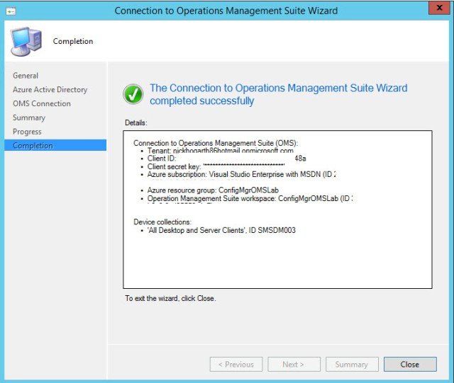 Configuration Manager 1606 – OMS Connector (preview feature