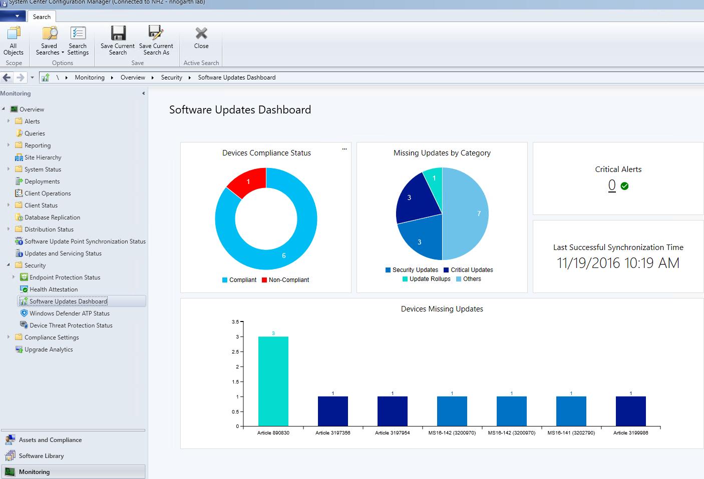 ConfigMgr CB 1610 Software updates dashboard | ConfigMgr