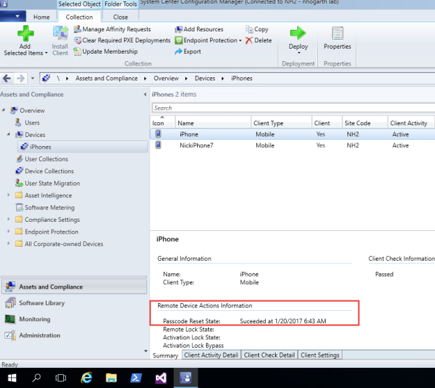 Intune Hybrid MDM – Reset iPhone Passcode from ConfigMgr