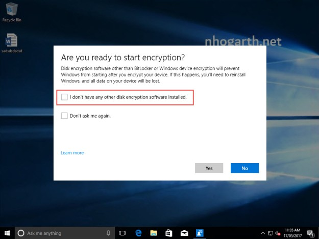 device encryption how to find key windows 10