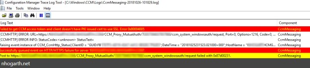 SCCM 1806 CMG – Hybrid Azure AD – Failed to get CCM access token