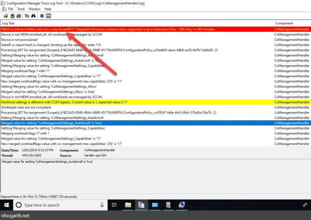 SCCM Co-management – MDM enrollment failed with error code 0xcaa9001f 'Integrated Windows authentication supported only in federation flow.'